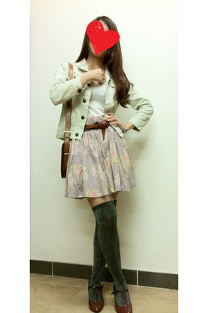 light purple skirt - light blue jacket - brown Zara bag - white H&M vest