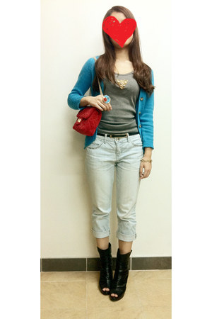 black staccato wedges - red Chanel bag - sky blue Zara cardigan