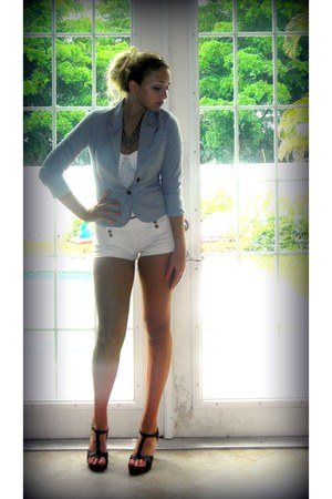 light blue Forever 21 blazer - white matelot Topshop shorts