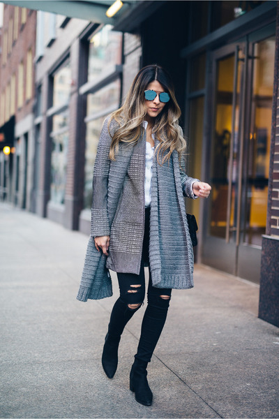 blue textured H&M coat