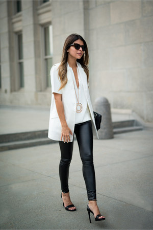 white worn as a top Forever 21 dress - black faux leather Topshop pants