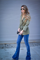 army green Topshop jacket - blue flare jeans 7 for all mankind jeans