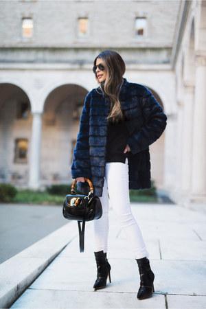 navy faux fur laundry coat