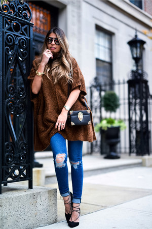 dark brown poncho asos sweater