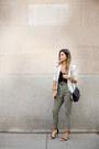 Olive-green-paper-bag-waist-7-for-all-mankind-jeans-black-v-neck-express-top