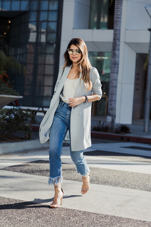 light blue oversized Topshop blazer