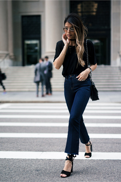 navy cropped Topshop jeans