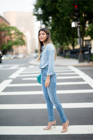 light blue denim 7 for all mankind jeans - light blue chambray JCrew top