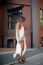 white high slit Forever 21 shirt - black fringe Chloe sandals
