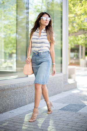 light blue denim madewell skirt