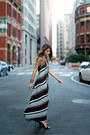 Light-blue-striped-zara-dress-black-yves-saint-laurent-heels