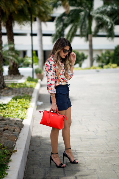red shirt asos shirt - red red Fendi bag - navy lace up Topshop shorts