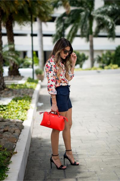 Red-shirt-asos-shirt-red-red-fendi-bag-navy-lace-up-topshop-shorts
