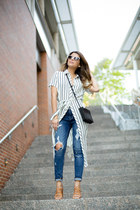 white striped Glamorous dress - blue ripped Express jeans