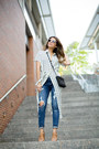 White-striped-glamorous-dress-blue-ripped-express-jeans