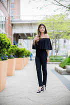 black Missguided jumper - black ankle strap Saint Laurent sandals