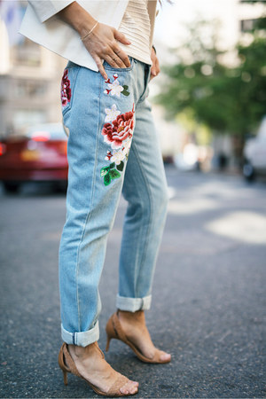 light blue embroidered French Connection jeans