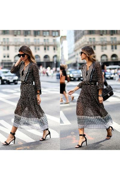 black ankle strap Maje sandals