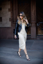 beige thigh high slit asos dress - black faux leather H&M jacket