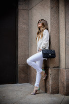 white ripped asos jeans - black leather Chanel bag - lace up Schutz sandals