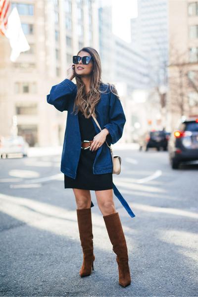blue belted asos jacket
