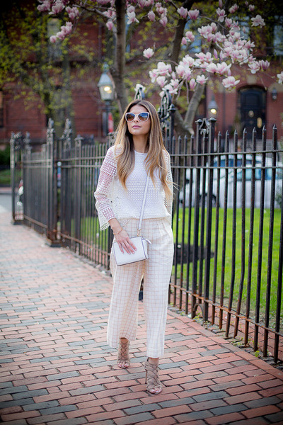 white crochet Mango top - ivory culottes Anthropologie pants