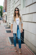 neutral blazer Topshop blazer - light blue ripped madewell jeans