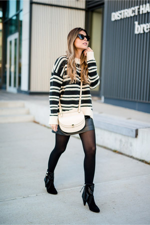 black striped H&M sweater - black leather Isabel Marant boots