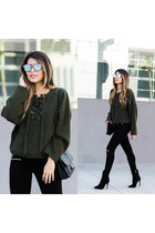 gray lace up Nasty Gal sweater