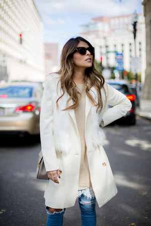 white ivory Chicwish coat - sky blue ripped Topshop jeans