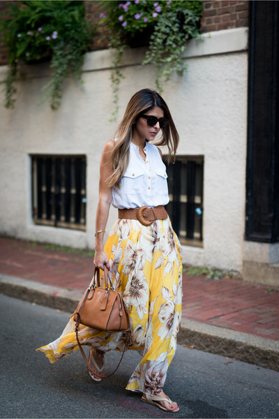 yellow floral maxi Chicwish skirt - white buttoned pocket Forever 21 shirt