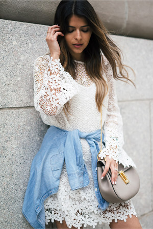 white lace French Connection dress