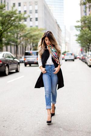 black black Reiss pumps - sky blue high waist 7 for all mankind jeans