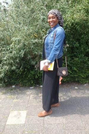 denim jacket united colors of benetton jacket - dress - scarf - Michael Kors bag