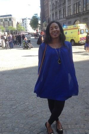 blue dress - leggings - flats