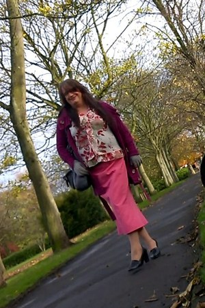 pink Sara London skirt - magenta Evie cardigan - red Ebay blouse