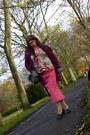 Magenta-evie-cardigan-red-ebay-blouse-pink-sara-london-skirt