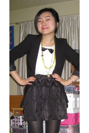 black H&M jacket - white China blouse - black BB Dakota skirt - green JCrew neck