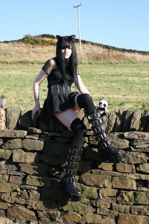 Demonia boots - Matalan shirt - cyclone skirt - Claires accessories
