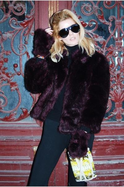 deep purple fur vest Miss Sixty vest - black skinny Zara leggings