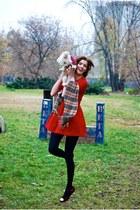 red girly Zara dress - black 100 den Calzedonia tights - tan Burberry scarf