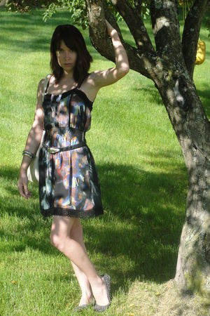black Kimichi Blue dress - black belt - gray Ruby & Bloom shoes - silver accesso