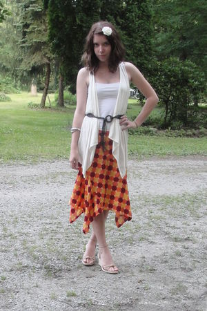 white Aerie top - beige ann taylor vest - brown belt - orange calvin klein skirt