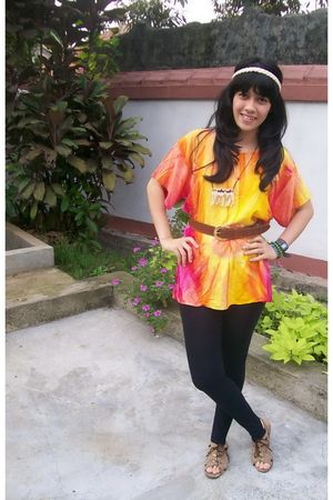 yellow gulali shop top - black Jus D orange leggings - brown tikas belt belt - g