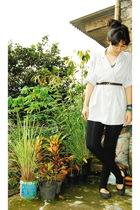 brown necklace - white blouse - brown belt - black leggings -