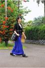 Black-no-brand-blazer-purple-moms-skirt