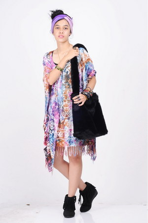 black Nevada boots - amethyst moms dress - light purple moms scarf