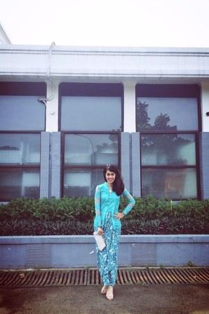 sky blue blouse - turquoise blue handmade skirt