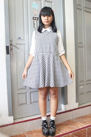 white gingham thrifted dress - white cotton exit shirt