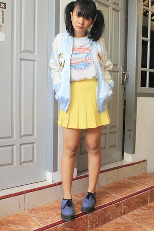 yellow pleated skirt thrifted skirt - navy creepers alice singapore shoes